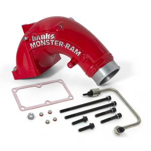 Banks Power - Banks Power 6.7 Cummins Monster-Ram Intake Elbow Kit with Fuel Line, 3.5 inch Red Powder Coated 42788-PC